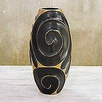 Mango wood vase, 'Black Melody of Art' - Artisan Crafted Mango Wood Vase
