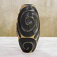 Mango wood vase, 'Black Melody of Art'