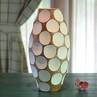 Mango wood vase, 'Polka Dot White' - Mango wood vase