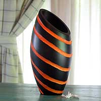 Wood vase, 'Orange Striped Cocoon' - Artisan Crafted Modern Mango Wood Striped Vase