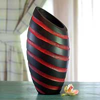 Wood vase, 'Red Striped Cocoon' - Modern Mango Wood Striped Vase