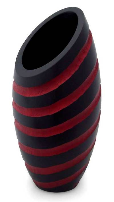 Modern Mango Wood Striped Vase Red Striped Cocoon Novica