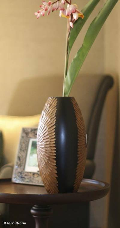 Mango wood vase, 'Star of Nature' - Mango Wood Vase