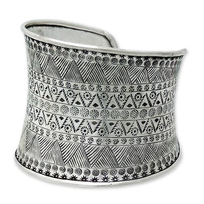 Silver cuff bracelet, 'Magic Signs' - Silver 950 cuff bracelet