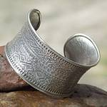 Hill Tribe 950 Silver Cuff Bracelet, 'Mountain Reflection'