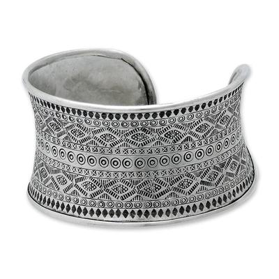 Silver cuff bracelet, 'Mountain Reflection' - Hill Tribe 950 Silver Cuff Bracelet