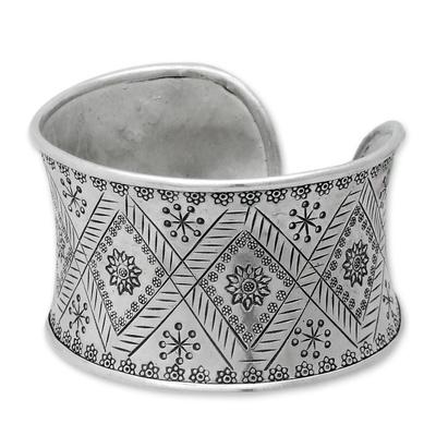 Silver cuff bracelet, 'Thai Sunflower' - Hill Tribe 950 Silver Cuff Bracelet