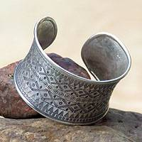 Silver cuff bracelet, 'Fascination' - Fair Trade Hill Tribe 950 Silver Cuff Bracelet