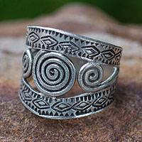 Sterling silver band ring, 'Bedazzled' - Swirling Silver Geometric Ring