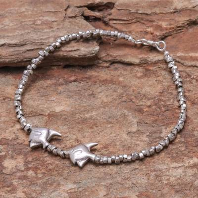 Silver anklet, Twin Fish