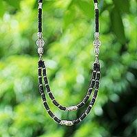Coconut shell strand necklace, 'Lianas' - Coconut shell strand necklace