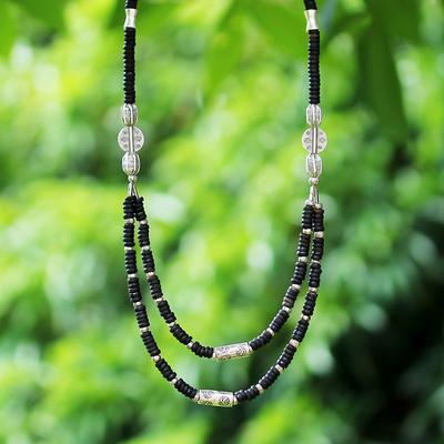 Coconut shell strand necklace, 'Lianas' - Coconut shell strand necklace