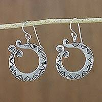 Silver dangle earrings, 'Flower Serpents' - Sterling silver dangle earrings