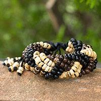 Coconut shell braided bracelet, 'Brown Forest' - Coconut shell braided bracelet