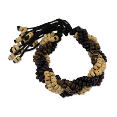 Coconut shell braided bracelet