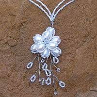 Pearl flower necklace necklace, 'White Camellia' - Pearl flower necklace necklace