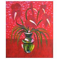 'Happy in Red' - Floral Acrylic Painting