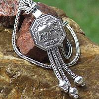 Sterling silver pendant necklace, 'Elephant Grace'