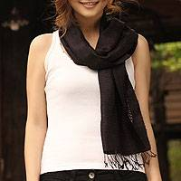 Silk scarf, 'Black Lattice' - Handcrafted Natural Thai Silk Scarf