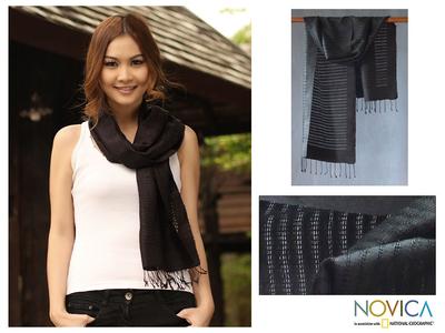 Silk scarf, 'Black Lattice' - Silk scarf