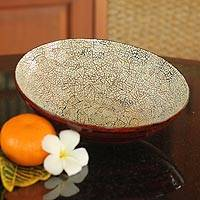 Eggshell mosaic bowl, 'Snow Ball' (large) - Eggshell mosaic bowl (Large)