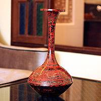 Lacquered bamboo vase, 'Melody of Art' - Lacquered bamboo vase