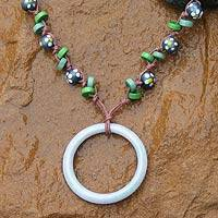 Jade and wood pendant necklace, 'Exotic Flowers' - Jade and wood pendant necklace