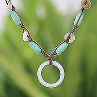 Jade pendant necklace, 'Endless Harmony' - Mango Wood and Jade Necklace