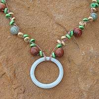 Jade and wood pendant necklace, 'Nature's Embrace'