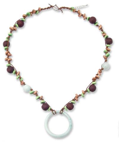 Mango Wood and Jade Pendant Necklace