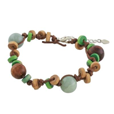 Handcrafted Mango Wood and Jade Bracelet