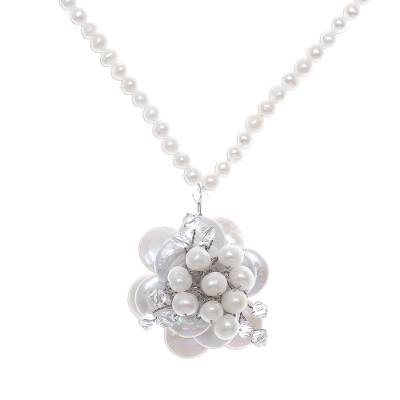 Novica Freshwater Pearls And Glass Beaded Pendant Necklace
