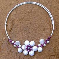 Pearl flower necklace, 'Tantalizing White Violet' - Pearl flower necklace