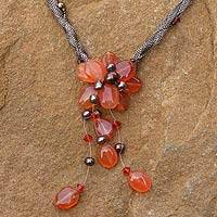 Pearl and carnelian flower necklace, 'Flower of Siam' - Handcrafted Beaded Carnelian Necklace
