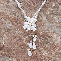Pearl flower necklace, 'Flower of Siam' - Floral Pearl Pendant Necklace