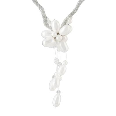 Floral Pearl Pendant Necklace