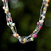 Pearl torsade necklace, 'Party Balloons' - Handmade Thailand Jeweled Women's Necklace