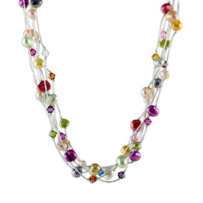 Pearl torsade necklace, 'Party Balloons' - Unique Beaded Pearl Necklace