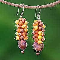 Pearl and carnelian cluster earrings, 'Golden' - Pearl Dangle Earrings