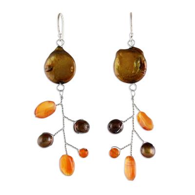 Carnelian and Pearl Dangle Earrings