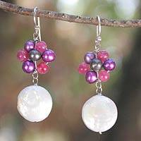 Pearl dangle earrings, 'Blossoming Blue Eclipse' - Unique Pearl Cluster Earrings