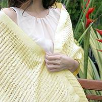 Silk shawl, 'Vanilla Supreme' - Silk Patterned Shawl Hand Woven Wrap