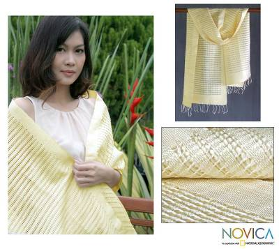 Silk shawl, 'Vanilla Supreme' - Silk Patterned Shawl Hand Woven Wrap
