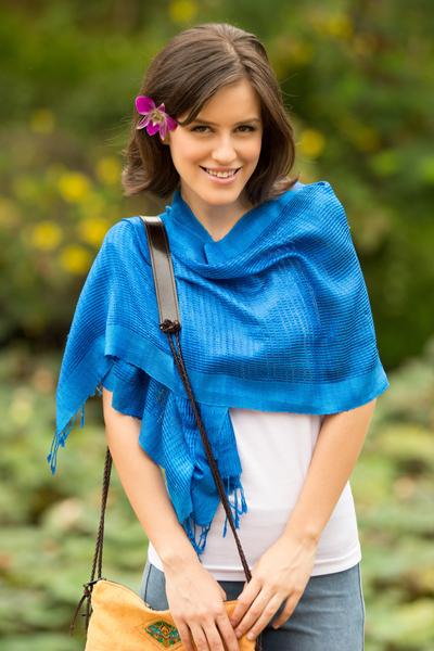 Silk scarf, 'Blueberry Supreme' - Hand Made Silk Scarf