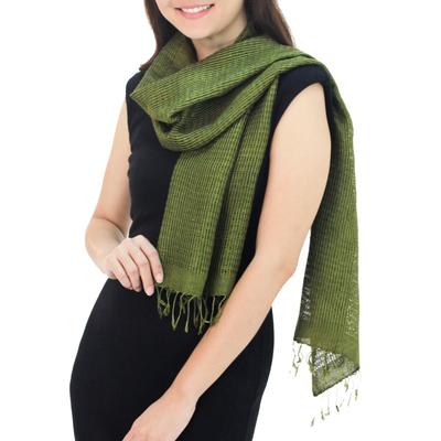Silk scarf, 'Loden Green Supreme' - Handcrafted Silk Scarf