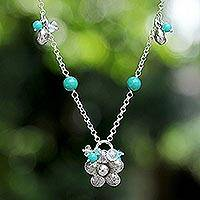 Sterling silver flower necklace, 'Spring Blossom' - Floral Sterling Silver and Turquoise Necklace