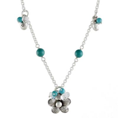 Sterling silver flower necklace, 'Spring Blossom' - Floral Sterling Silver and Turquoise Necklace