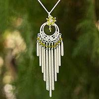 Peridot pendant necklace, 'Spring Sun' - Peridot pendant necklace