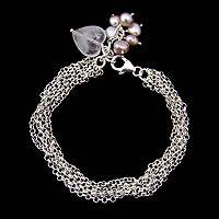 Pearl and rose quartz wristband bracelet, 'Field of Love' - Sterling Silver Chain Bracelet with Heart Charm