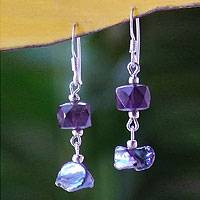 Pearl and amethyst drop earrings, 'Iridescent Night' - Fair Trade Beaded Amethyst and Pearl Earrings